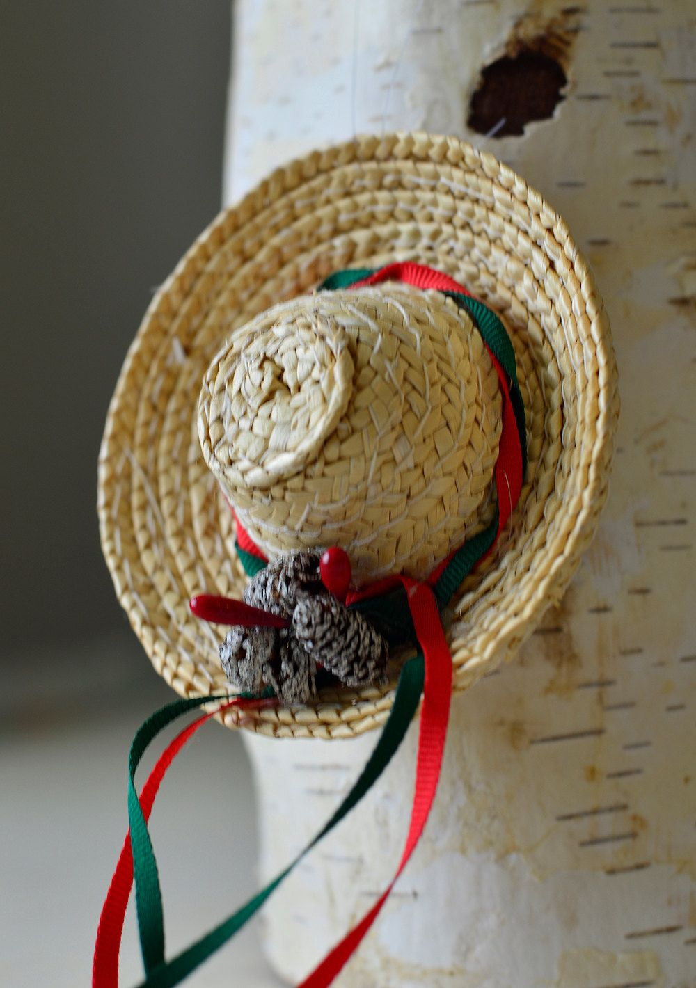 VintageChristmas Ornament Wicker hat | Etsy | Vintage