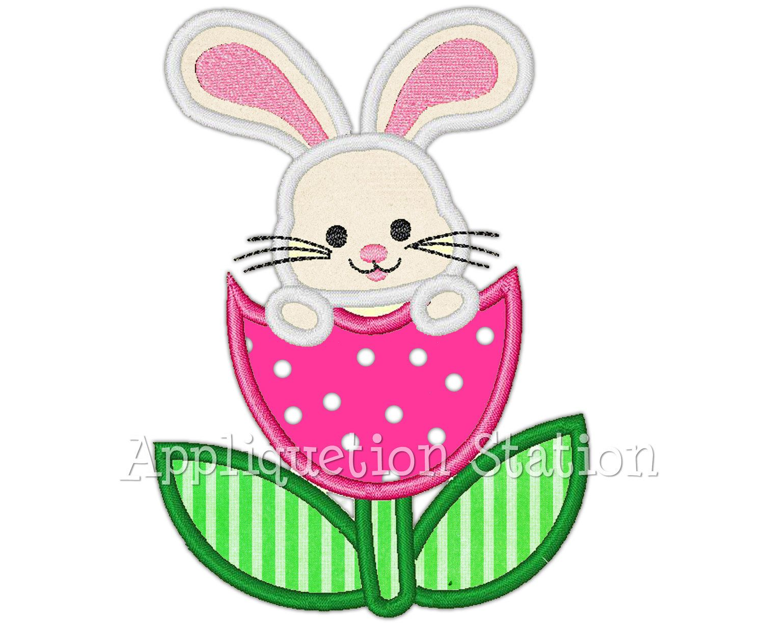Easter Bunny Tulip Flower Applique Machine Embroidery Design Baby