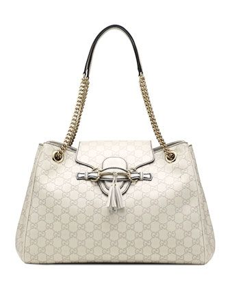 Emily Guccissima Leather Shoulder Bag, White by Gucci at Neiman Marcus.