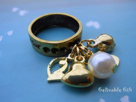 Steampunk charms ring,antique golden car,heart,letter B and pearl,crystal pendants ring