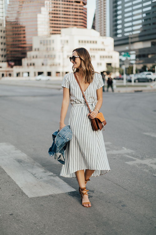 Striped Midi Wrap Dress Livvyland 160 160 Austin Fashion And Style Blogger Wrap Dress Outfit Street Style Dress Midi Dress Outfit [ 1500 x 1000 Pixel ]