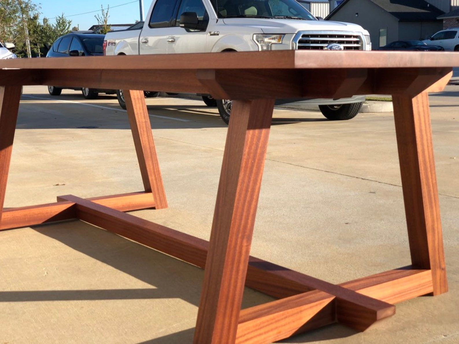 Modern Sapele Wood Dining Table Mahogany Trestle Etsy Wood