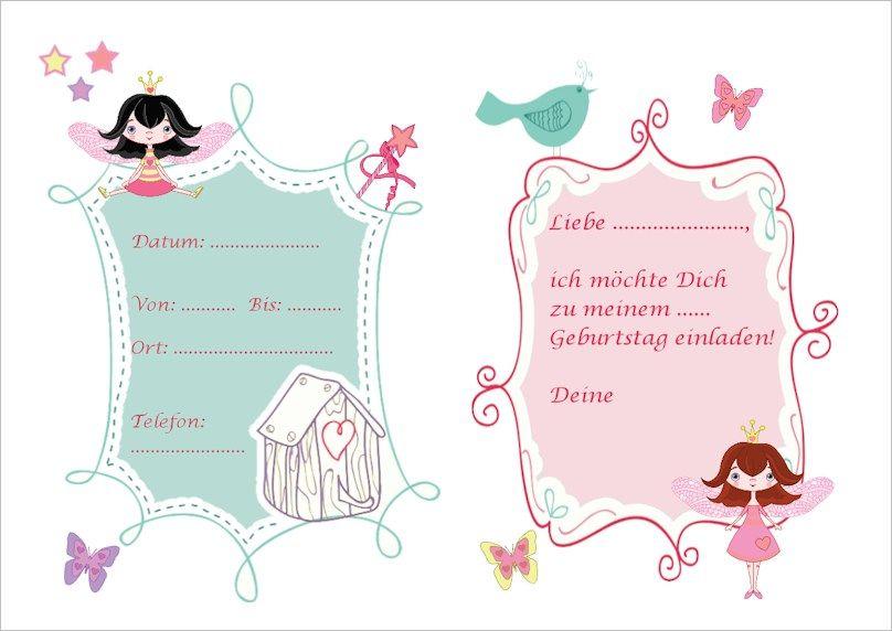 Eine Süße Einladung Für Einen Feen Geburtstag Zum Kostenlosen Ausdrucken.  Kindergeburtstags Einladungen Selbst Machen Mit Kindergeburtstag Planen.de