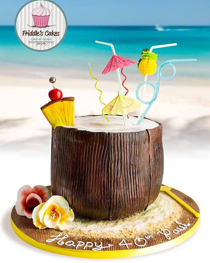 Friddle S Cakes Coconut Cocktail Birthday Cake Tropical Birthday