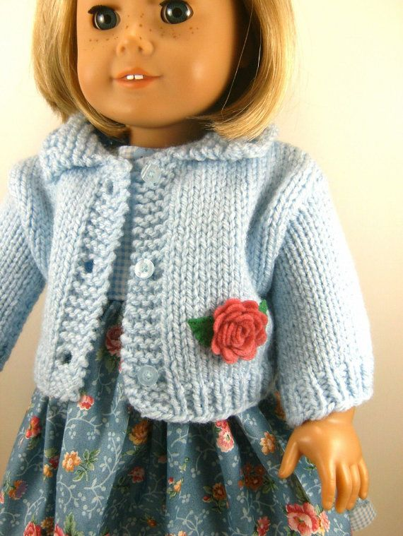 18 Inch Doll Clothes American Girl Light Blue Hand Knitted Sweater ...