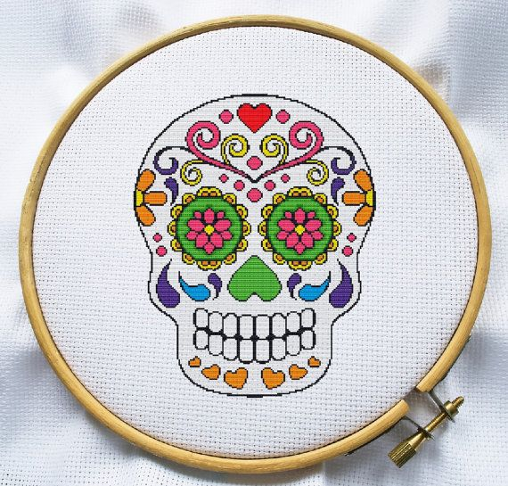 Sugar skull cross stitch pattern, Instant Download, Free shipping ...