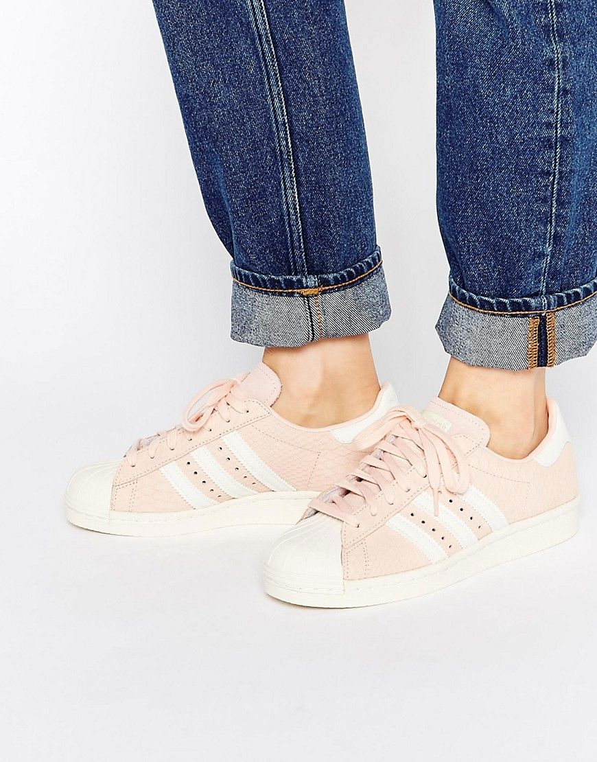 Image 1 of adidas Originals Blush Pink Superstar 80's Trainers