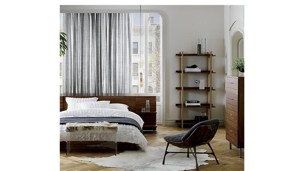 Andes Acacia Bed Cb2 Cb2 Bedroom Walnut Bookcase Simple Bed