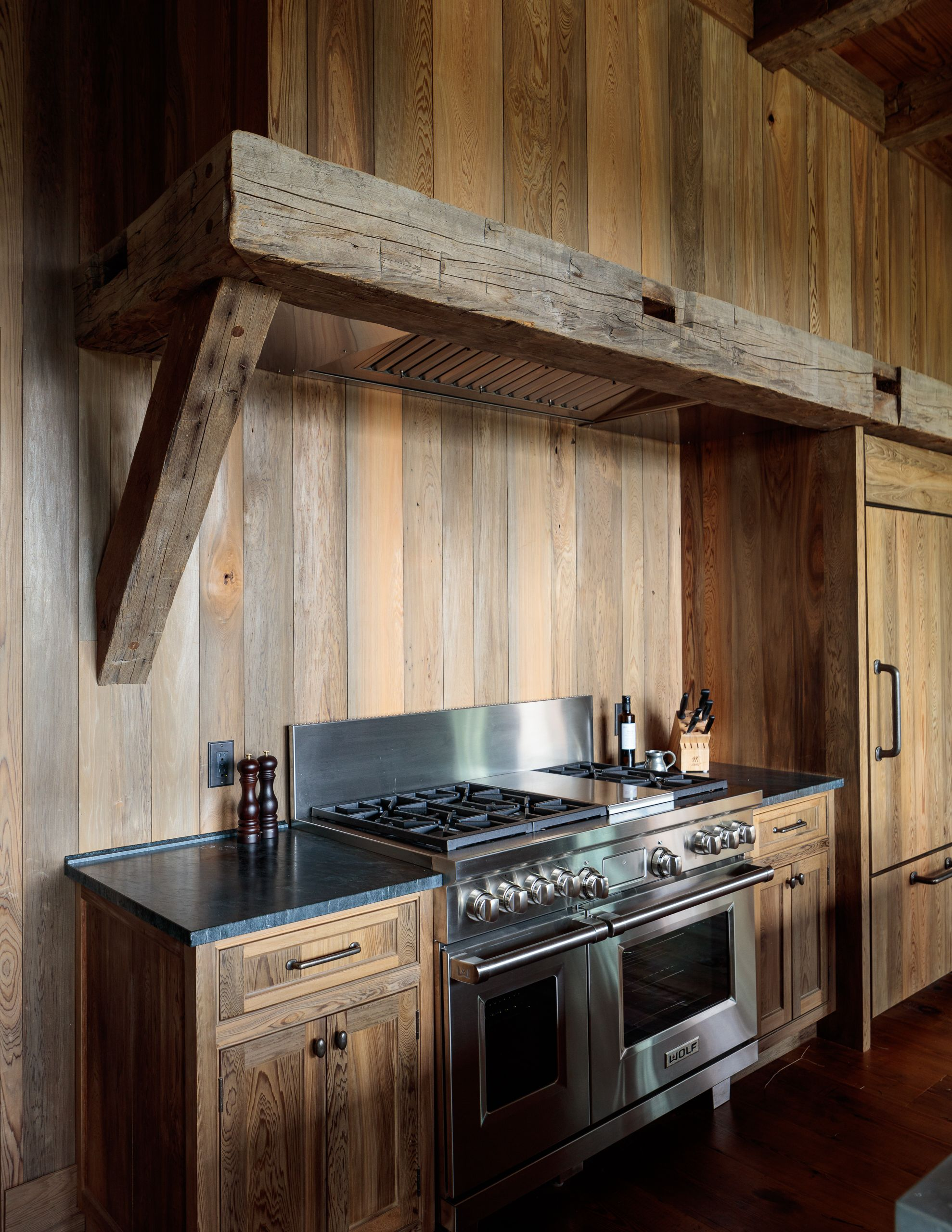 River Recovered Cypress Kitchen Cabinets Walls Refrigerator Done In Green Blue Brown Cypress Boards With Hand Vintage House Hand Hewn Beams Louisiana Homes