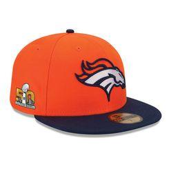 Men's New Era Orange/Navy Denver Broncos Super Bowl 50 Bound Side Patch Sideline 59FIFTY Fitted Hat