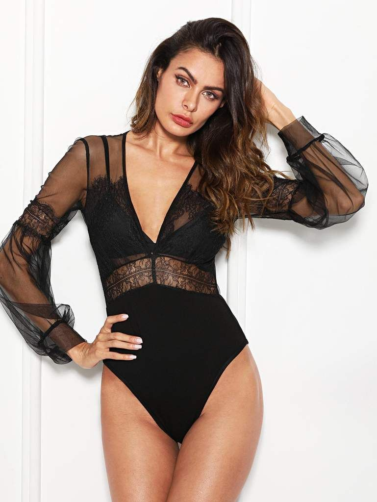 620d7ce806 Plunge Neck Lace Insert Sheer Mesh Bodysuit in 2019