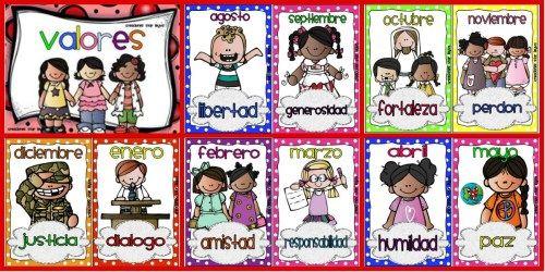 Trabajamos Los Valores Uno Al Mes 12 Meses Y 12 Valores Ideales Para Decorar Tarjetas Imprimibles Imagenes Educativas Normas De Clase