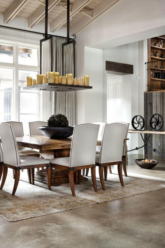 Rustikale m bel esstisch essbereich eleganter teppich for Rustikale mobel