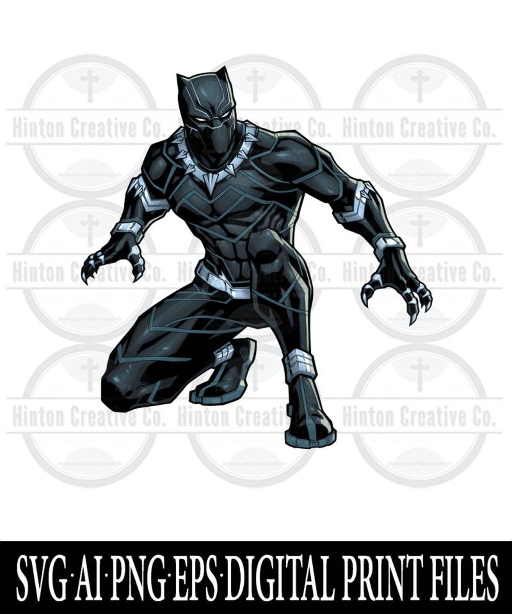 Black Panther Crouching Digital PRINT FILE Printable SVG | Etsy