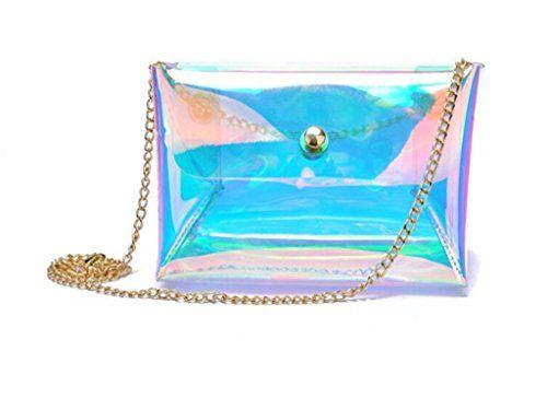 5f62aa82c842 Remeehi Women's Hologram Transparent Shoulder Bag Messenger Clutch ...