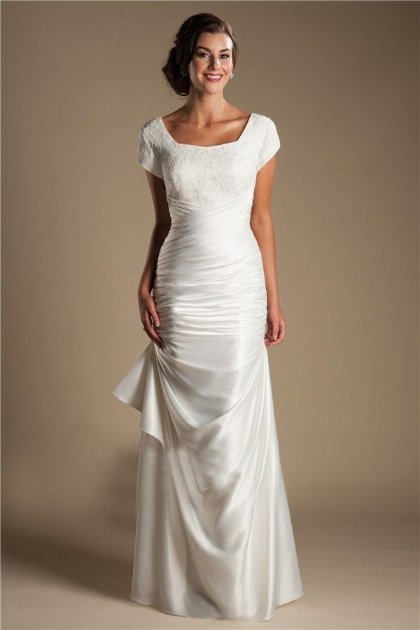 modest square neck cap sleeve silk satin ruched wedding