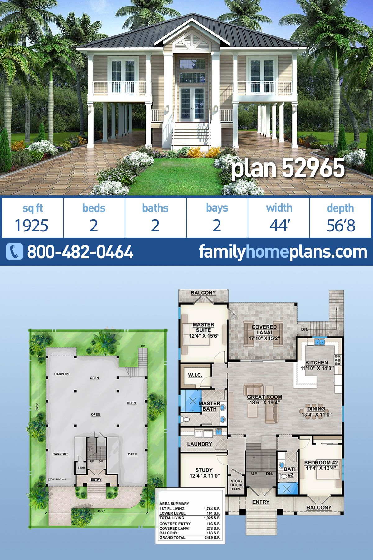 Southern Style House Plan 52965 With 2 Bed 2 Bath 2 Car Garage Coastal House Plans Beach House Floor Plans Vacation House Plans
