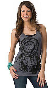 Rock & Roll Cowgirl® Women's Grey with Black Dream Catcher Long Body Tank