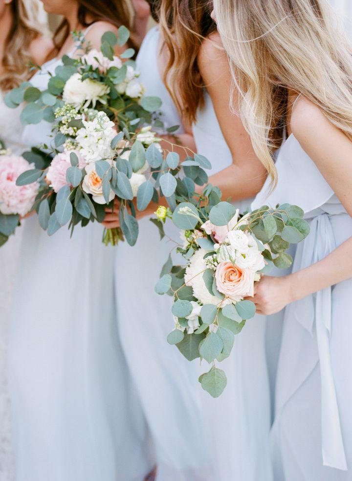 Light blue bridesmaid dresses + pretty spring wedding bouquet #wedding #bridesmaiddresses