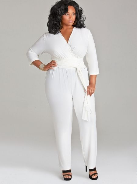 """natalie"""" matte jersey jumpsuit with sash belt - ivory - what's new"""