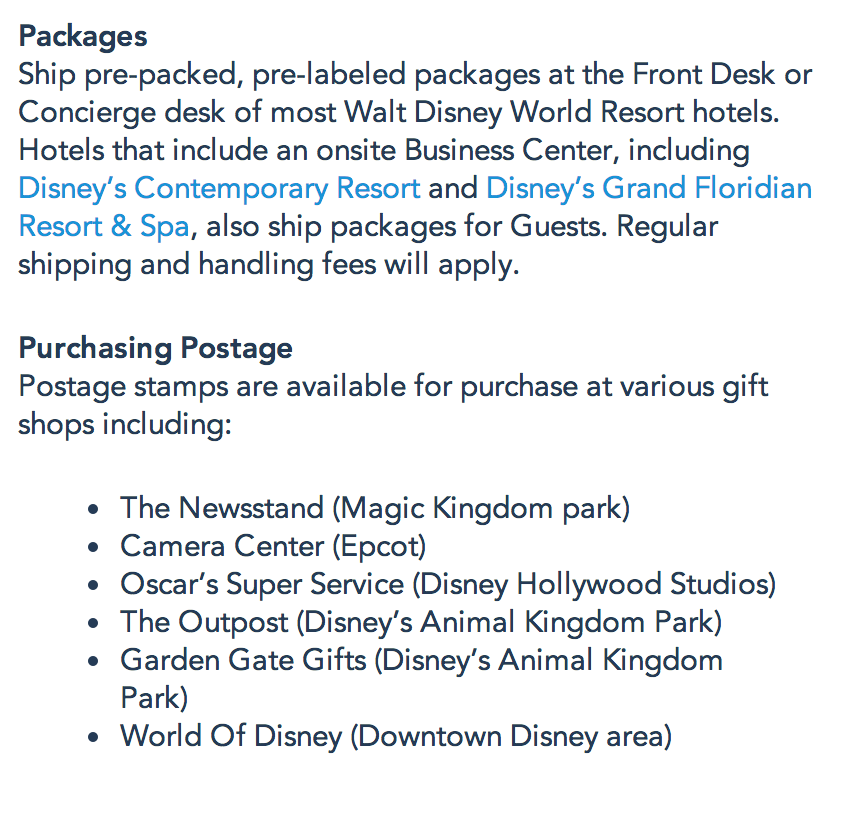 Where To Buy Postage And Ship Packages At Disney World