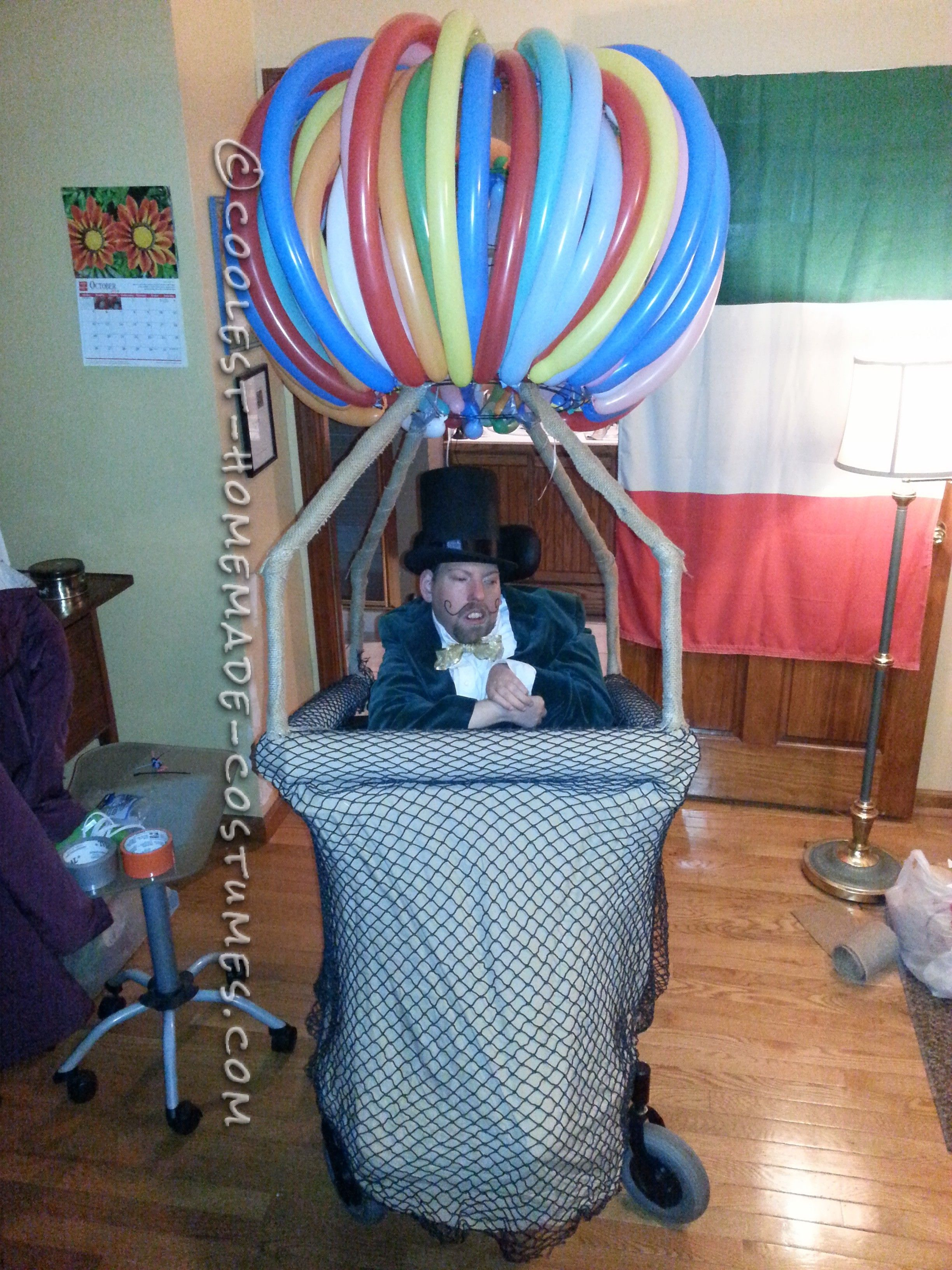 Crowd Rousing Wizard of Oz in a Hot Air Balloon Wheelchair Costume ...
