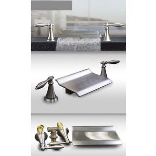 @Overstock - Waterfall bath tub faucet  Number of handles: Two  Faucet finish: Brushed nickelhttp://www.overstock.com/Home-Garden/Kokols-Brushed-Nickel-Roman-Waterfall-Bath-Tub-Faucet/6196336/product.html?CID=214117 $138.99