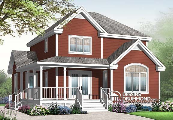 Plan de Maison unifamiliale W3708, champêtre, country, house style - idee de plan de maison