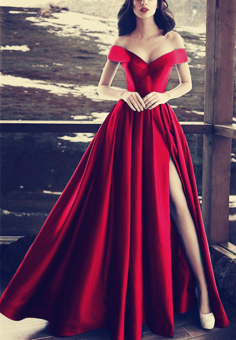 Elegant vneck off the shoulder long satin prom dresses
