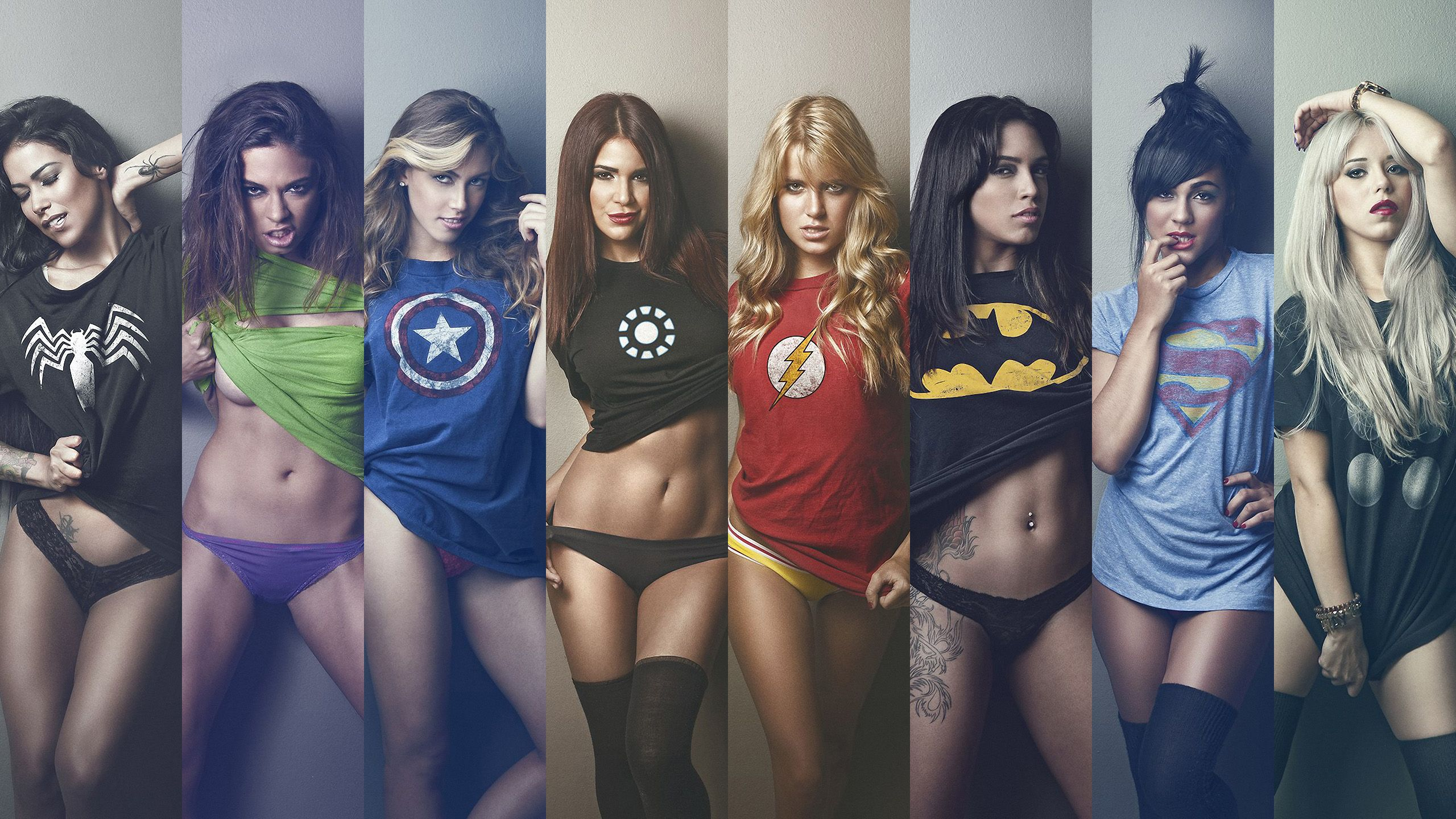 Girls Wearing Superhero Shirts Wallpaper 2560x1440