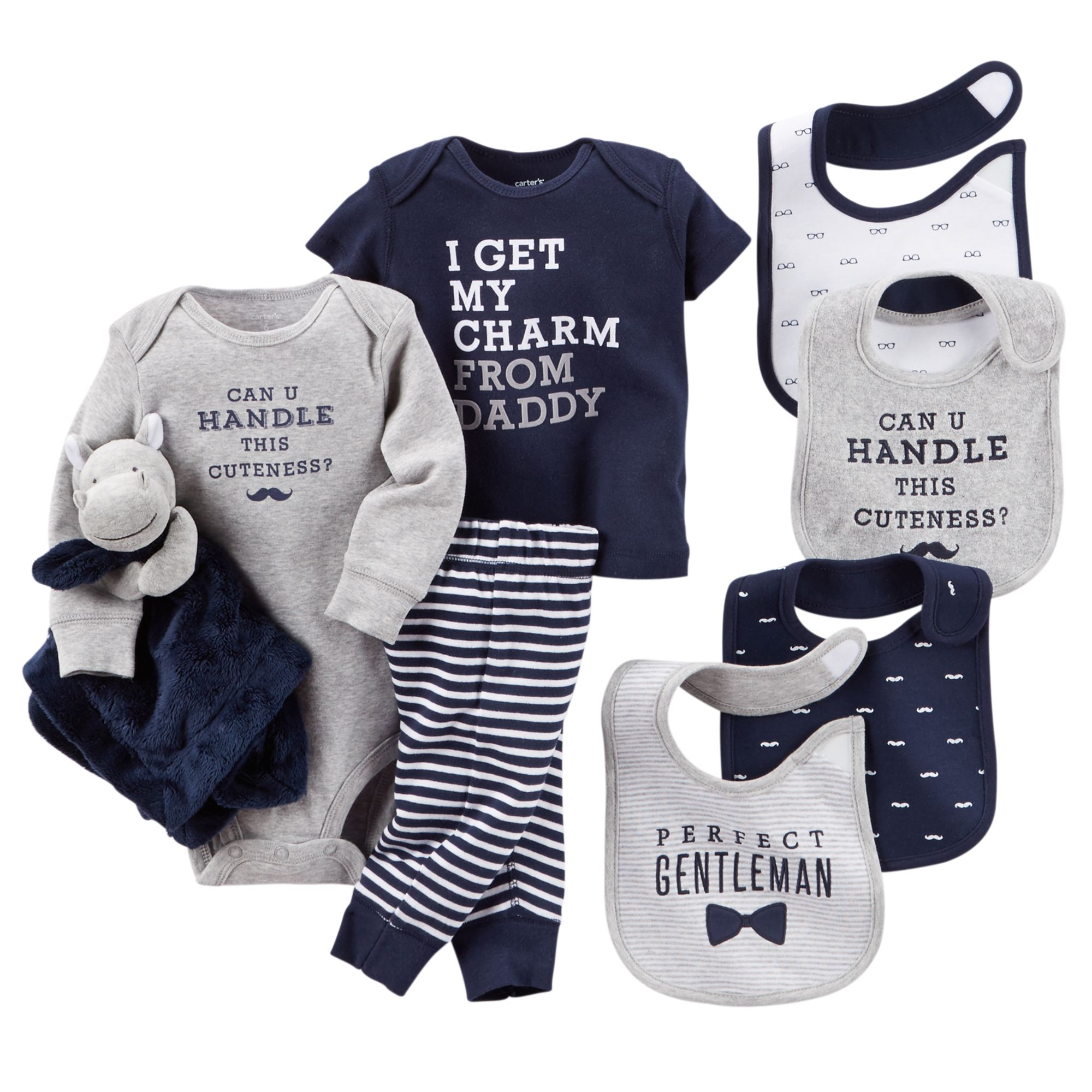 This bundle es with lots of bibs Your perfect gentleman will
