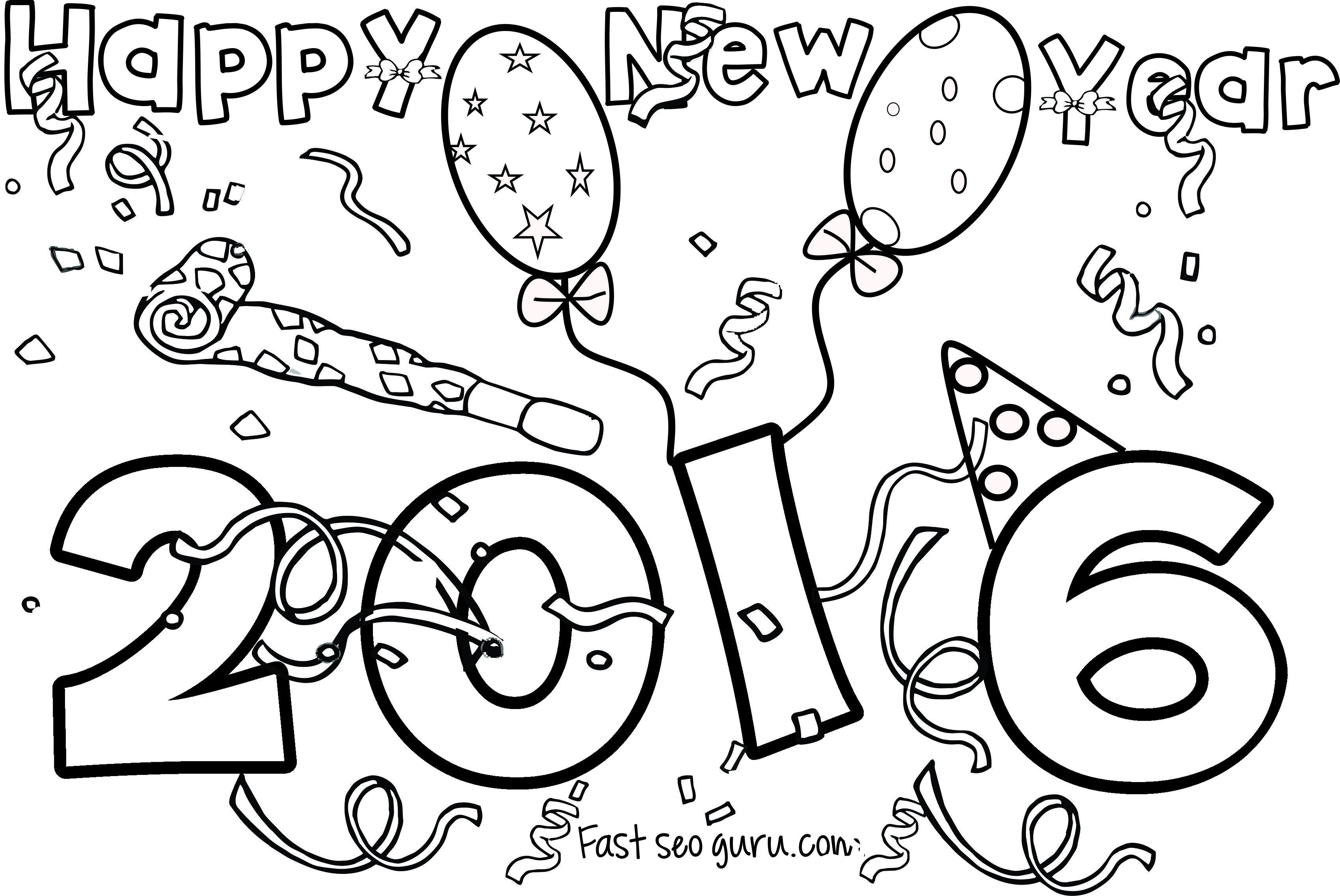 Happy new year 2016 coloring pages for kids | crafts | Pinterest