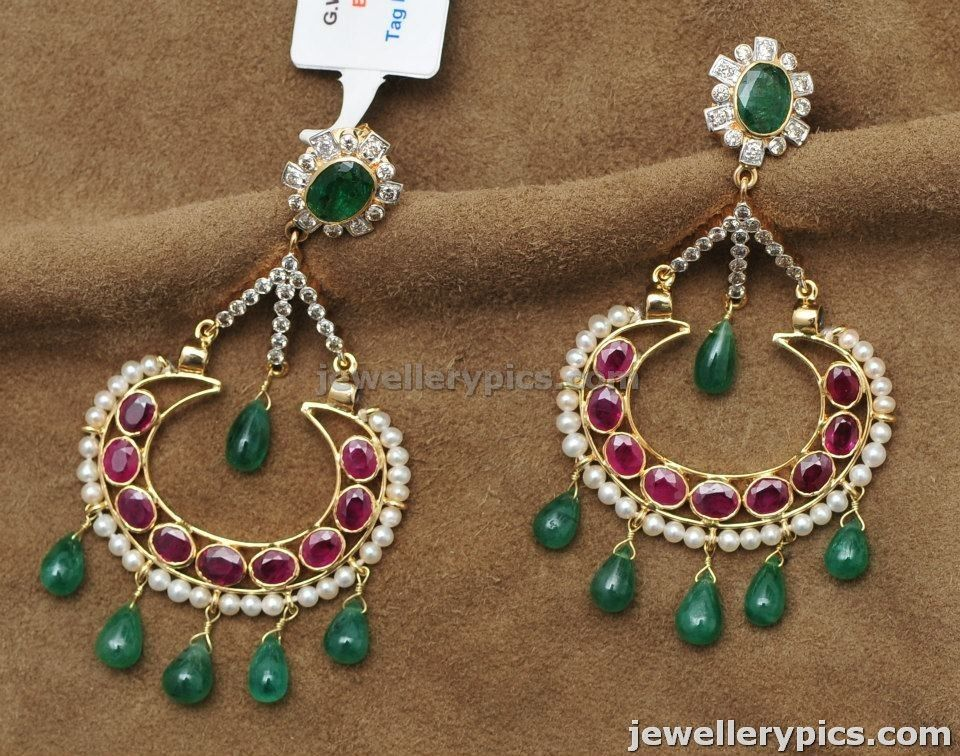 Uncut Doamond Polki Chand Bali designs with ruby emarald pearls