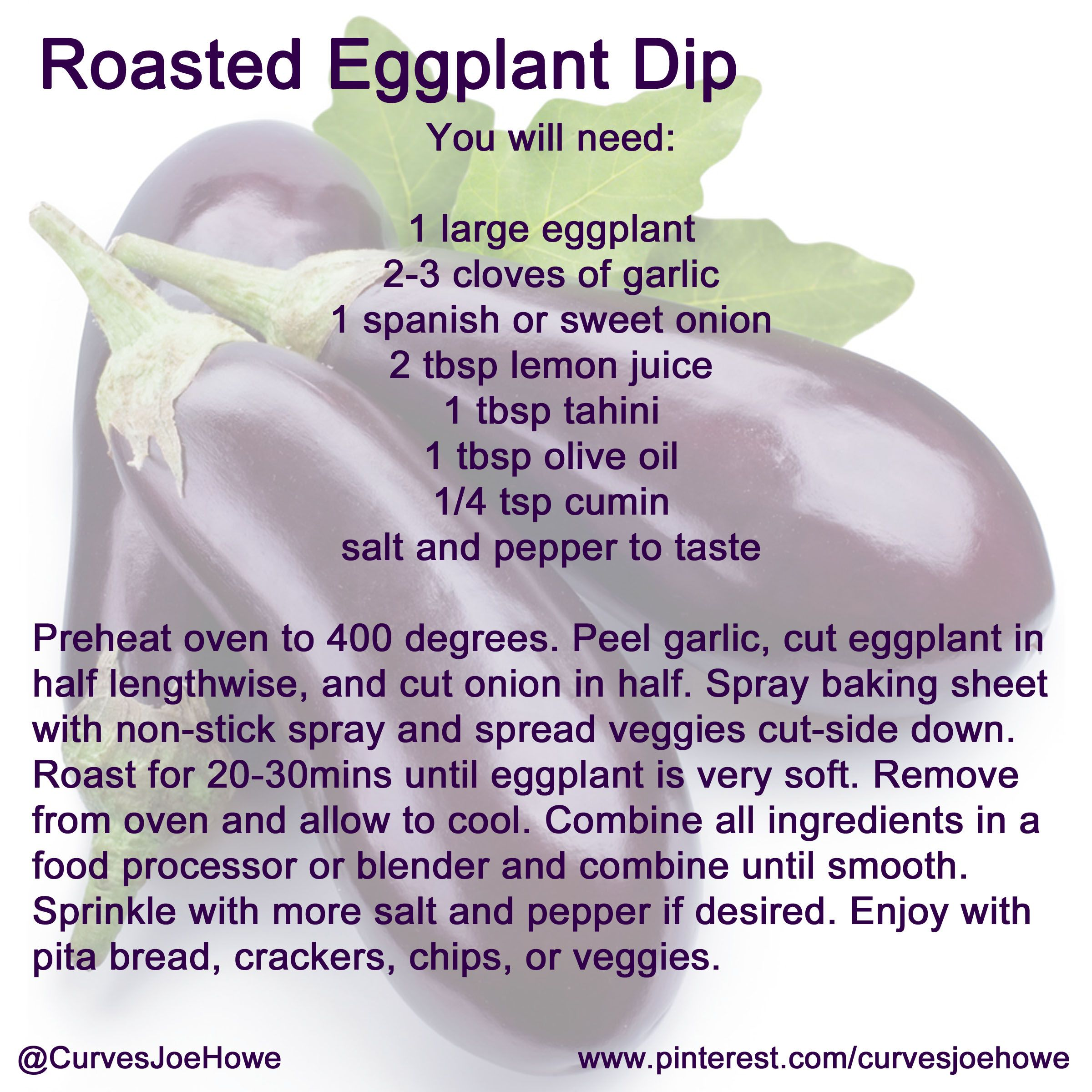 Looking for a healthy appetizer to serve at your next dinner party? How about homemade baba ganouj aka Roasted Eggplant Dip? It tastes like Caesar dressing, and goes with pita bread, crackers, veggies, and more! You can even use it as a spread for wraps and sandwiches for lunch.