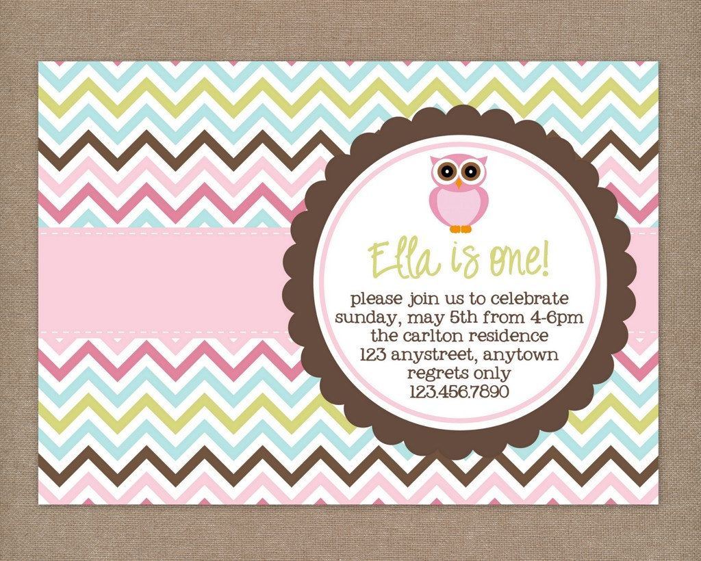 Custom Printable Owl Chevron Birthday Party Invitation