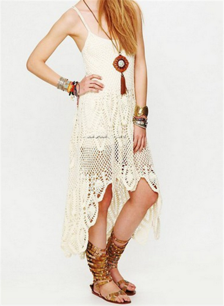 47866f6a01 Bella Donna Dress Off White Crochet High Low Coachella Maxi Gown One Size  Fits Small Medium Or Large