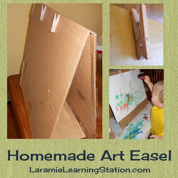 The Learning Station: Homemade Cardboard Art Easel