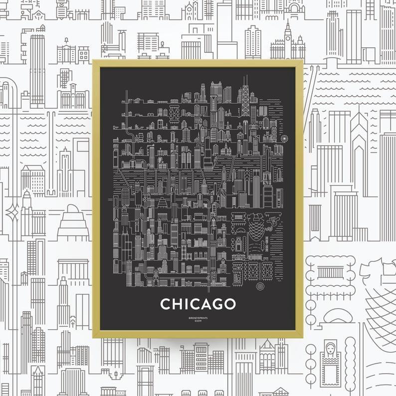 CHICAGO Skyline Map Print / Chicago Art Gift / Chicago