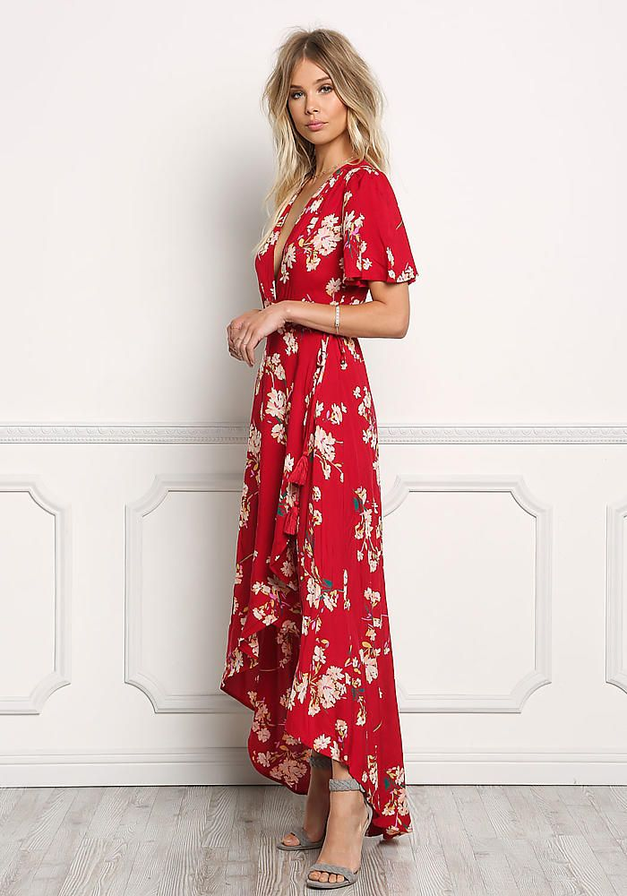 caa9a6a2528 Red Floral Wrap Hi-Lo Maxi Dress