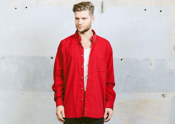 Vintage 90s Mens Oxford CORDUROY Shirt . Red Cord Button Down 1990s Grunge Long Sleeve Normcore Boyfriend Gift Idea . size XL XXL