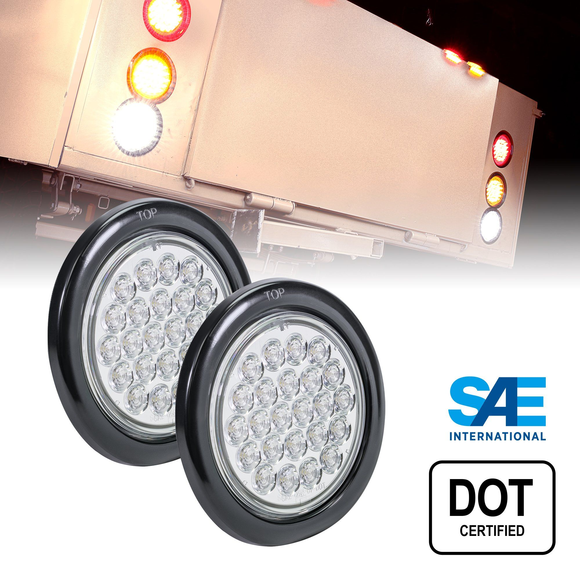 2pc 4 Round White 24 Led Trailer Tail Lights Dot Certified