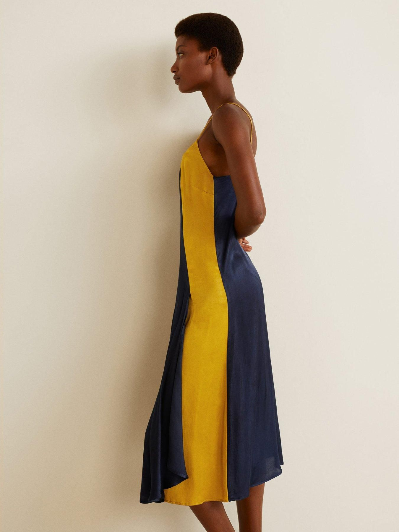 94f435a2825031 Mango Colour Block Cami Midi Dress - Navy/Yellow | littlewoodsireland.ie