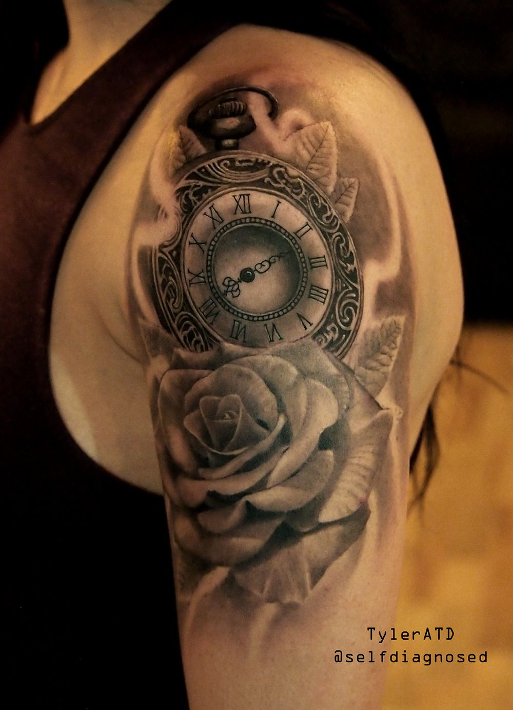 Clock and rose half sleeve tattoo tyleratd whistler canada