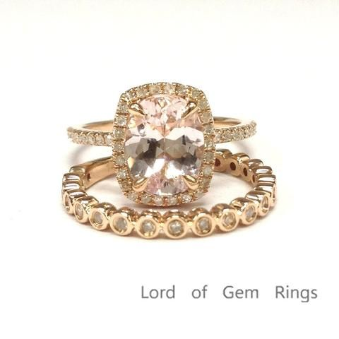 Oval Morganite Engagement Ring Sets Pave Diamond Wedding 14K Rose