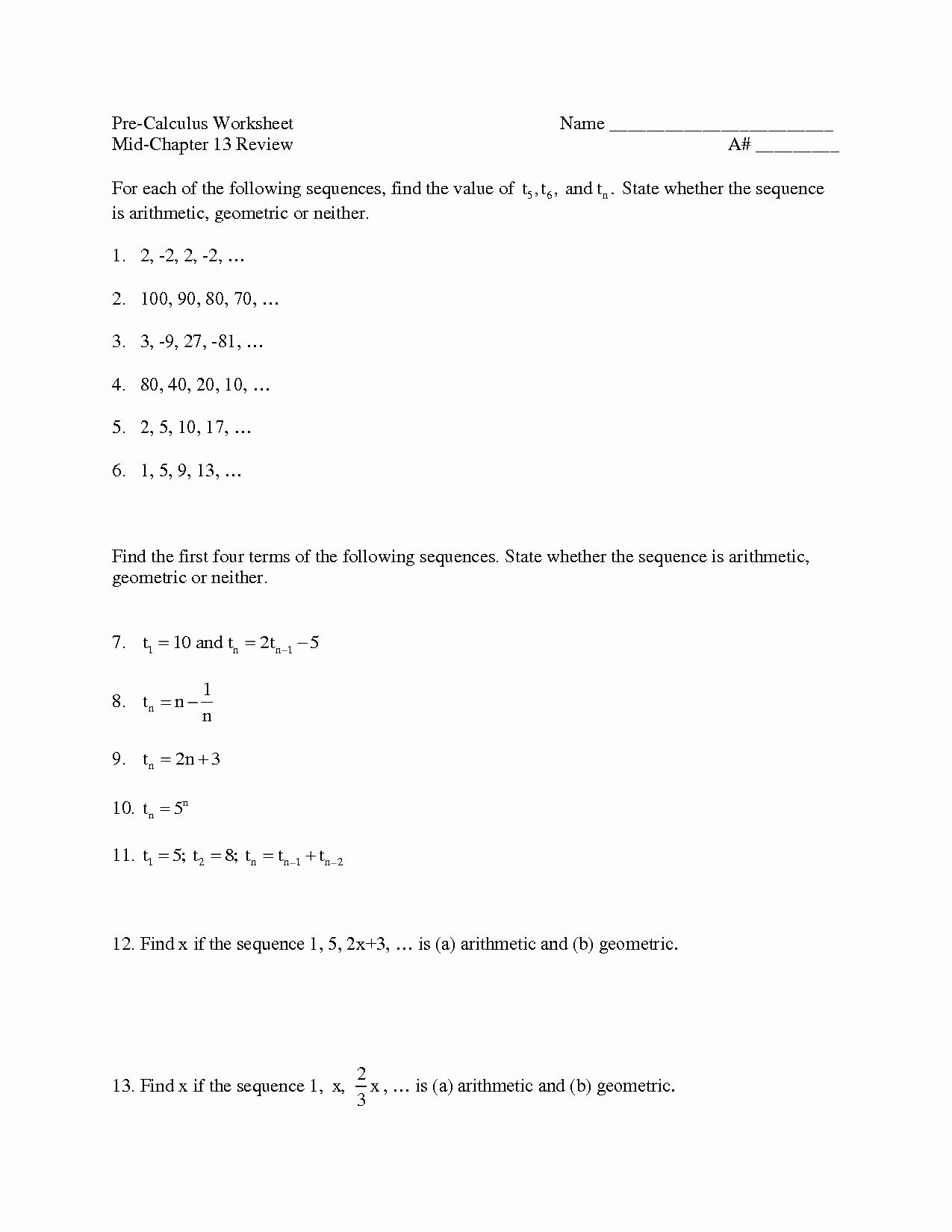 Arithmetic And Geometric Sequences Worksheet Awesome 51