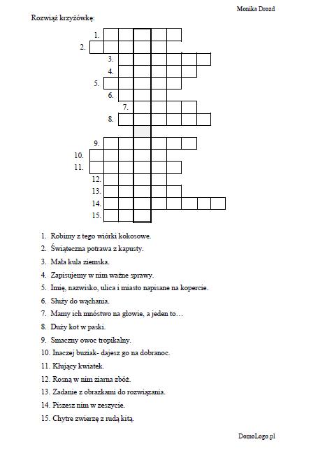 Krzyzowka Z Gloska S W Wyglosie Crossword Puzzle