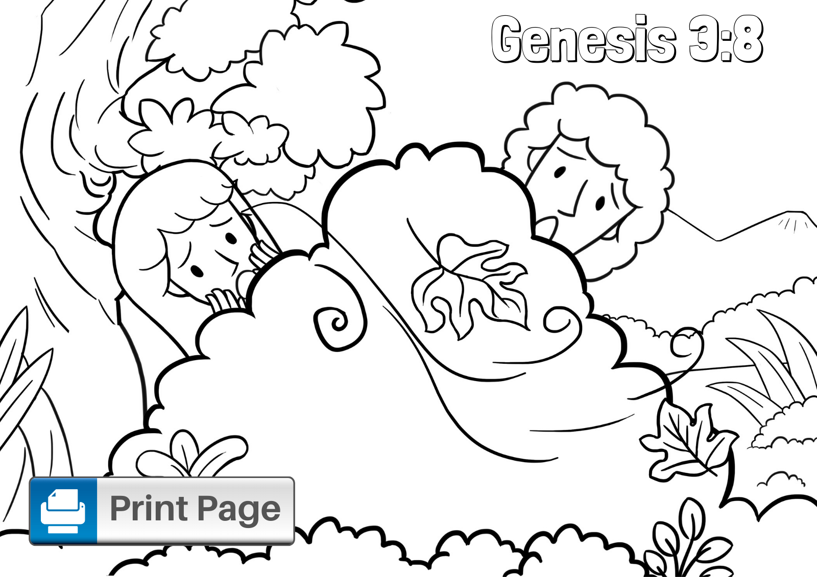 Adam And Eve Coloring Sheet In