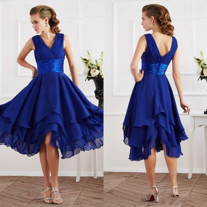 2016 newest design cheap bridesmaid dresses tea length v for Cream and purple wedding dresses
