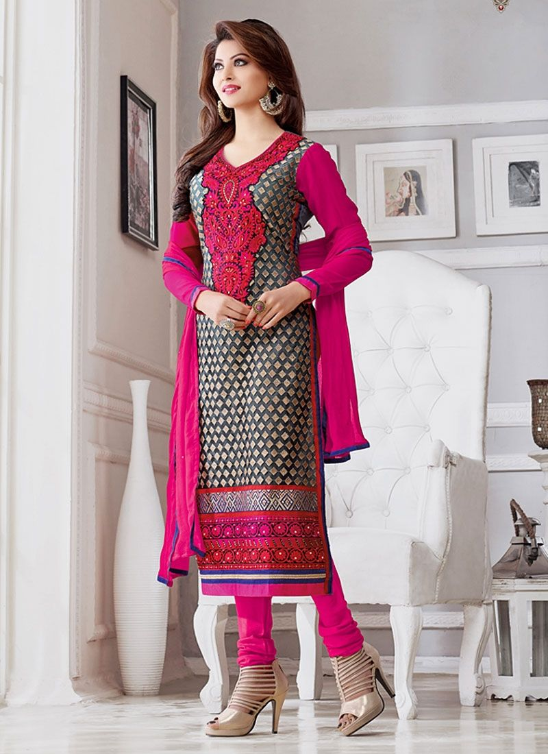 Divine Urvashi Rautela Black Georgette Churidar Suit