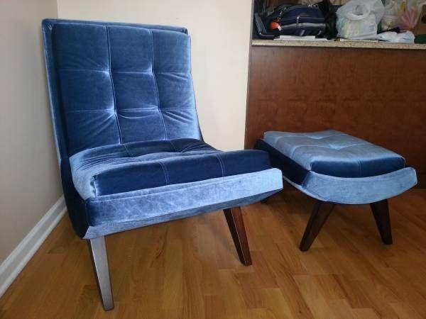 Blue Velvet Chair Ottoman Chair And Ottoman Set Curved Chair Chair And Ottoman